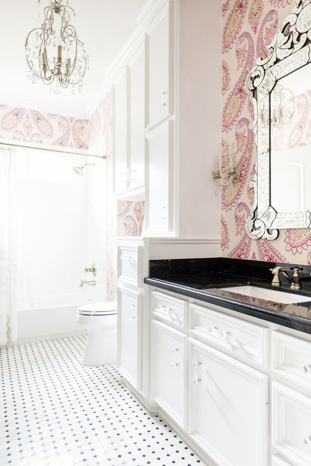 In This Classic Bathroom, Large Scale Patterned Wallpaper Works Beautifully  With Crystal Light Fixtures
