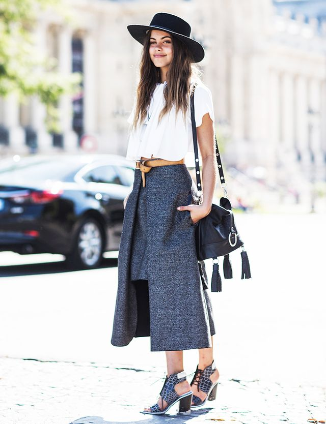 6. Wear it loose with a cool skirt.