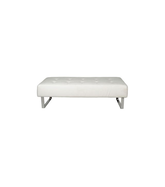 Whiteline Modern Living Miami White and Chrome Bench