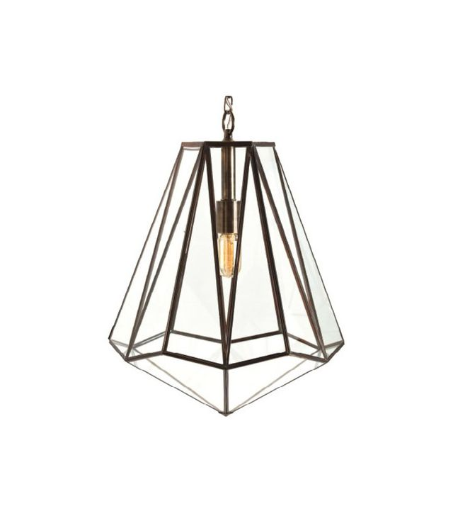 Arteriors Edmond Brass and Glass Hexagon Pendant