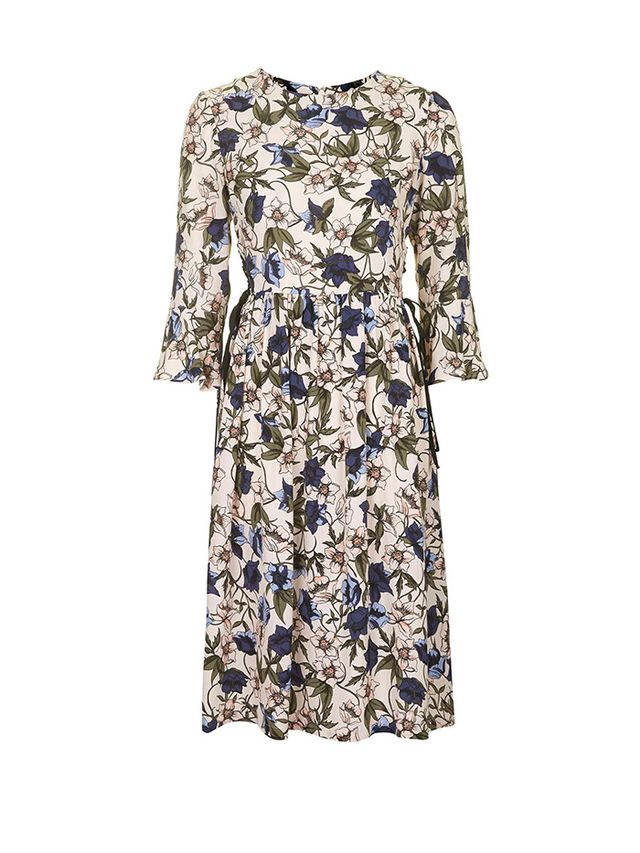 Topshop Autumn Floral Print Tie-Side Dress