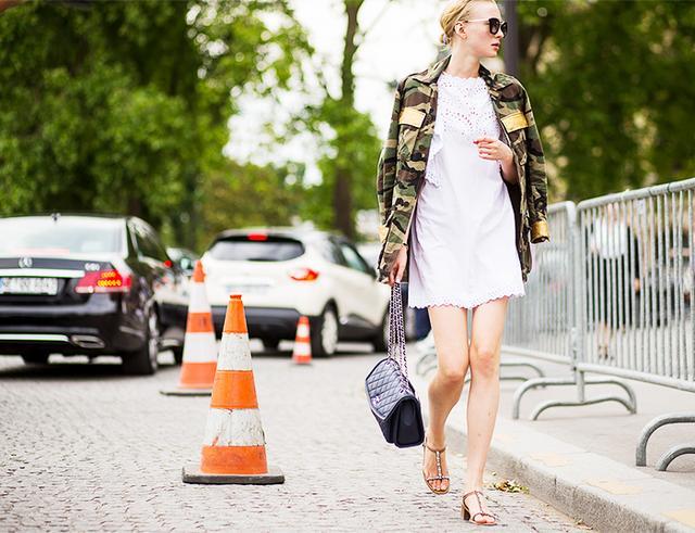 6. Add a camo jacket to something really feminine.