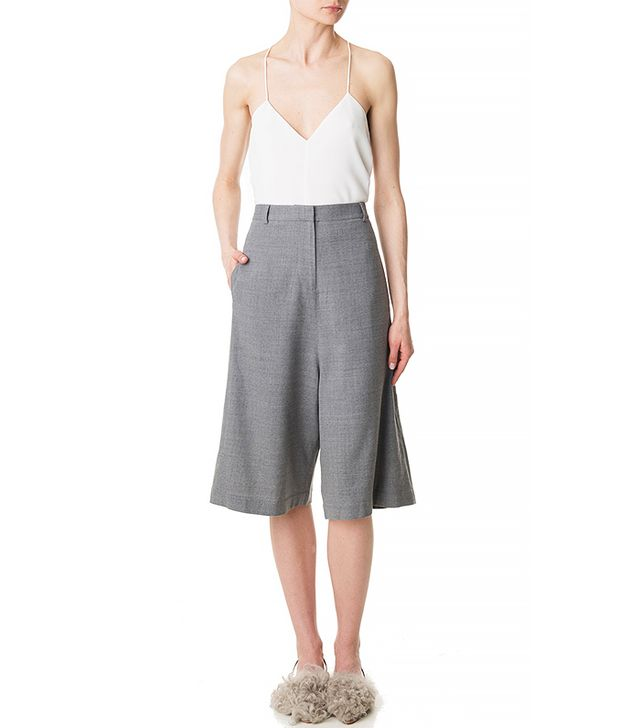 Tibi Flannel Wide-Leg Shorts