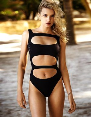 Lily Donaldson Poses In Sexy Cut-Out Swimsuits For The Telegraph