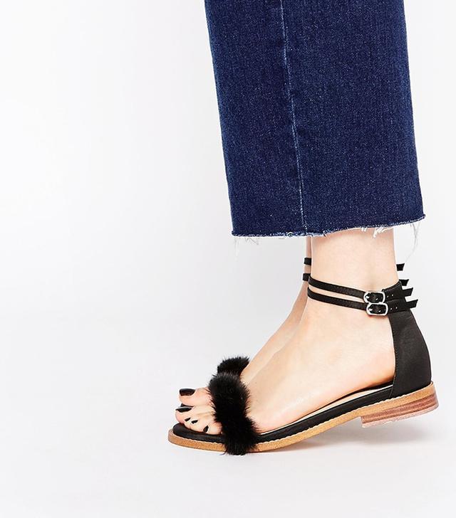 ASOS Freedom Fur Flat Sandals