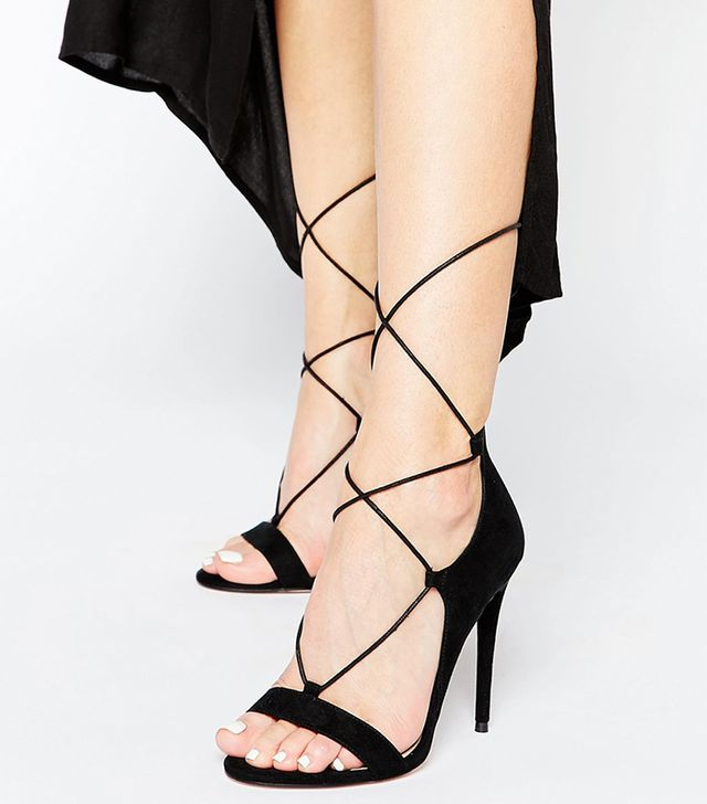 ASOS Have a Blast Wide Fit Lace-Up Heeled Sandals