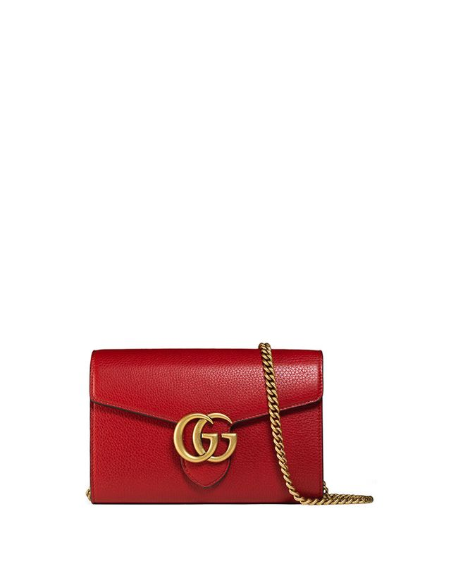 Gucci Interlocking GG Marmont Leather Wallet-on-Chain Bag