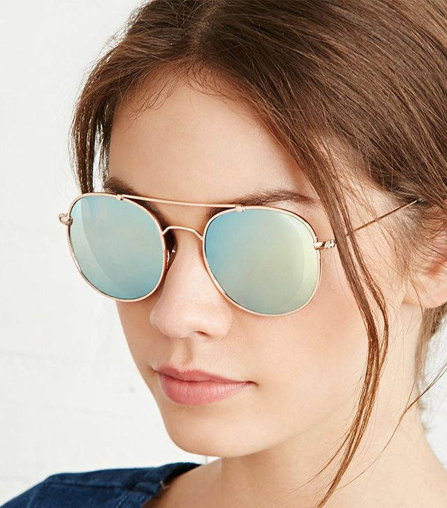 Forever 21 Cutout Bar Mirrored Aviators
