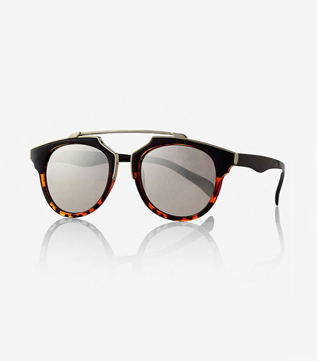Express Mirrored Retro Brow Bar Sunglasses