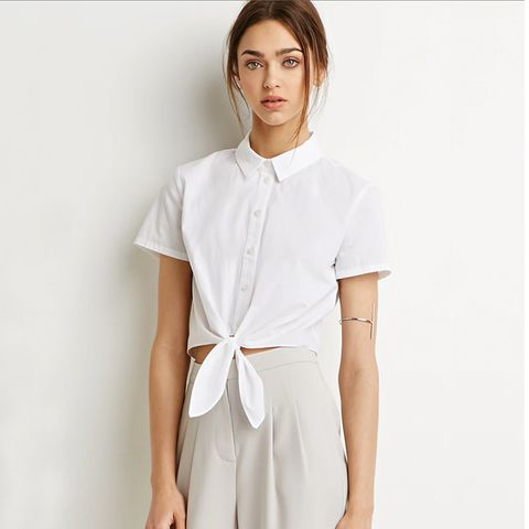 Self-Tie Waist Shirt, White