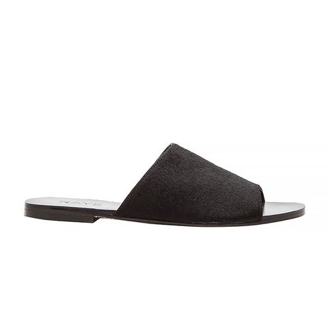 Calf Hair Sienna Slide, Black