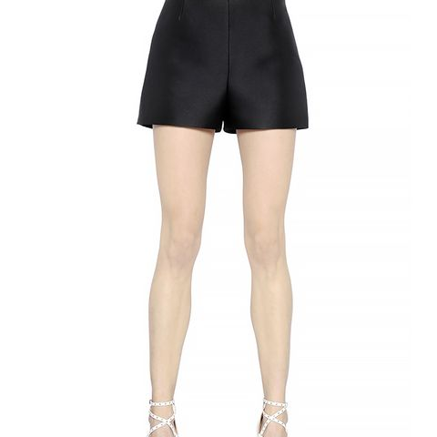 Silk Blend Twill Shorts, Black