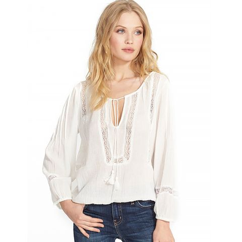 'Arcene' Cotton Peasant Top, White