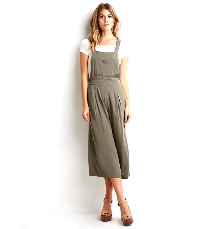 Forever21 Pleated Wide-Leg Overalls