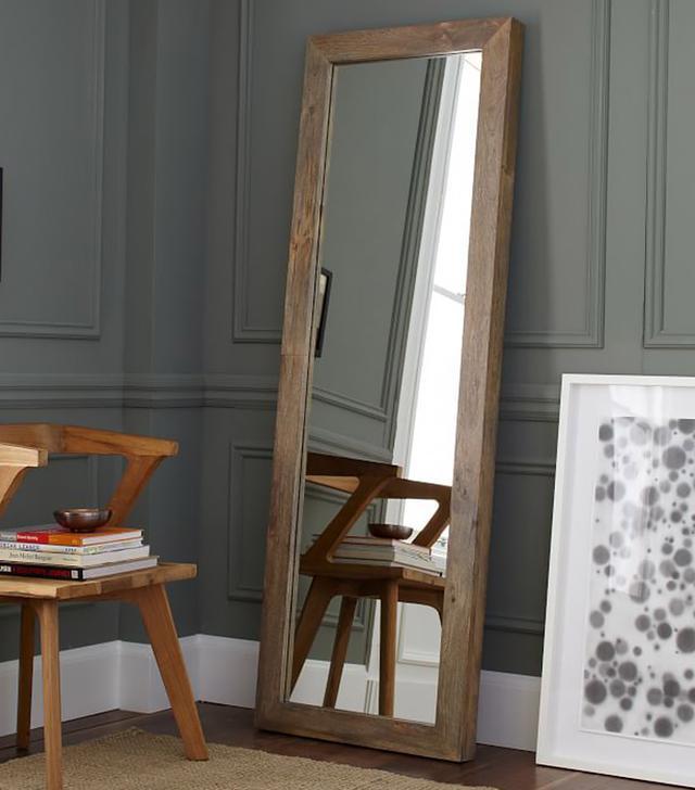 West Elm Parsons Floor Mirror Natural Solid Wood