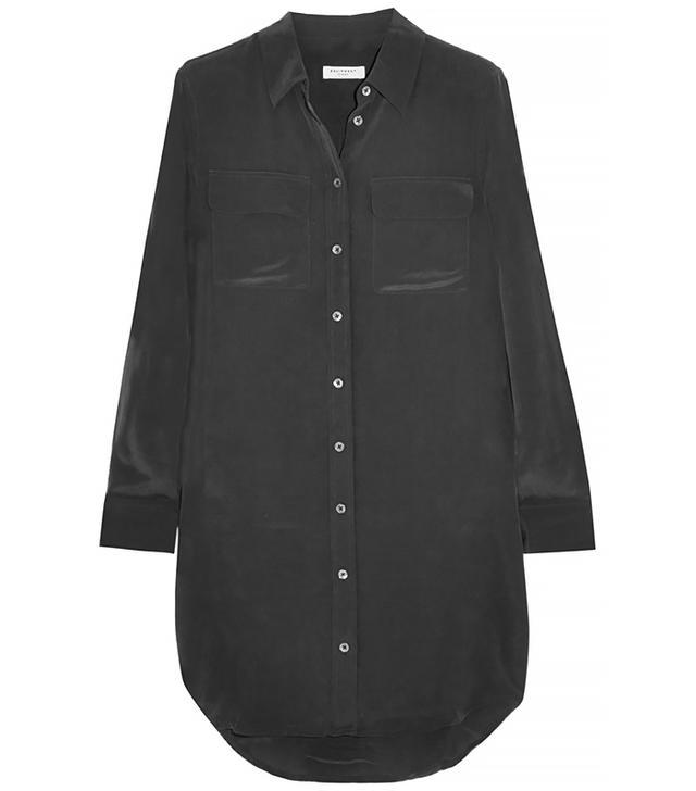 Equipment Slim Signature Washed-Silk Mini Dress, Black