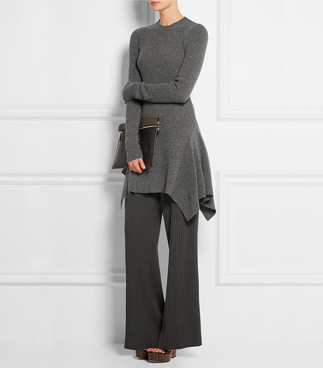 Stella McCartney Asymmetric Ribbed Wool Dress