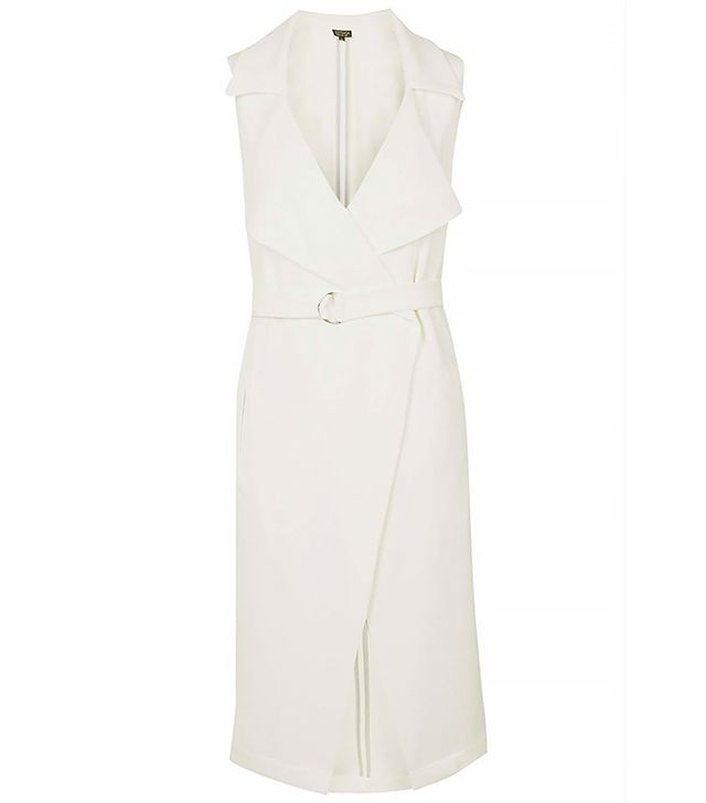 Topshop Sleeveless Belted Duster, White