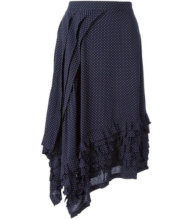 Zucca Asymmetric Polka Dot Skirt