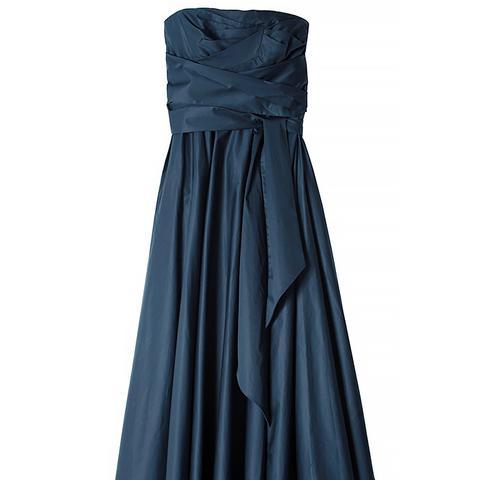Satin Poplin Strapless Wrap Dress, Navy