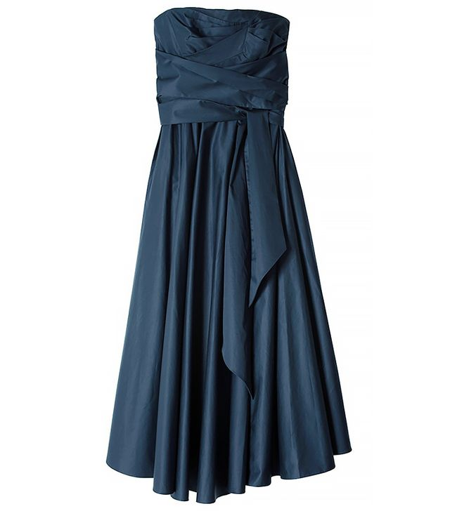 Tibi Satin Poplin Strapless Wrap Dress, Navy