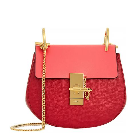 Drew Mini Textured-Leather Shoulder Bag, Red/Pink