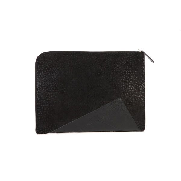 Brancher Emden  Black Leather Document Clutch