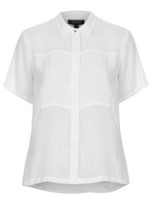 Topshop  Topshop Short Sleeve Panel Shirt