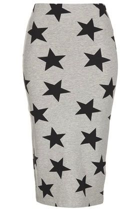 Topshop  Grey Star Printed Tube Skirt