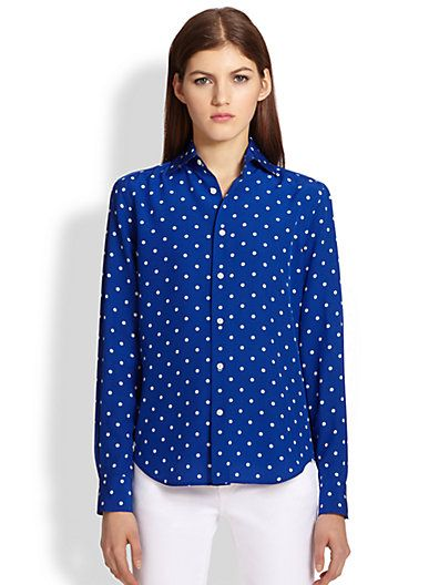 Ralph Lauren Black Label  Caitlin Silk Polka Dot Shirt