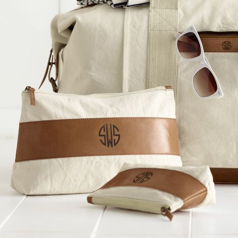 Mark and Graham  Canvas with Leather Cosmetic Bags