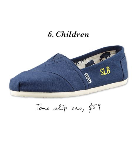 """Monogrammed Classic Canvas Slip Ons ($59) in Natural  """"In many circles, proper etiquette states that monograms for infants and younger children appear as first, last, and middle name..."""