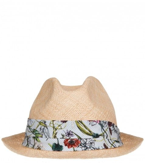 Gucci  Beige Floral Print Band Panama Hat