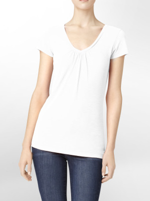 Calvin Klein Gathered V-Neck Slub T-Shirt