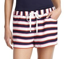 "LOFT  Pool Stripe Silky Drawstring Shorts with 2 1/2 "" Inseam"