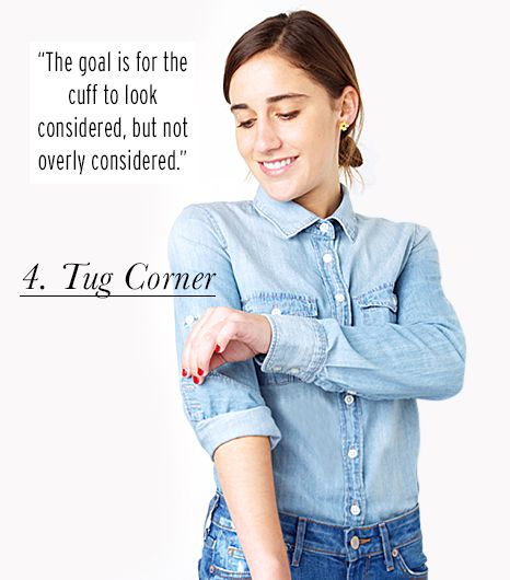 How to cuff your sleeves: tug the corner