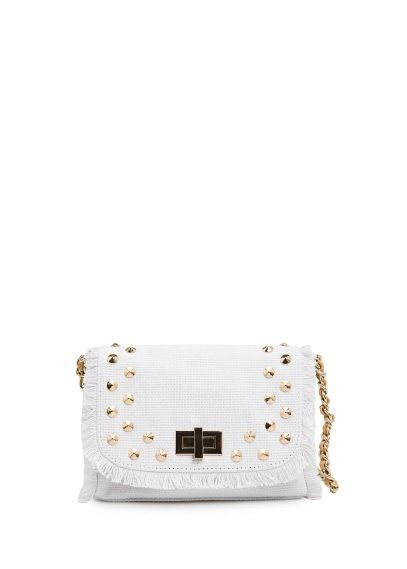 Mango Touch  Studded Canvas Bag