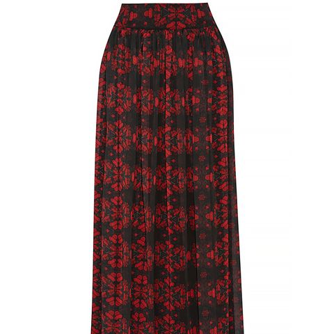 Kamryn Printed Chiffon Maxi Skirt, Red/Black