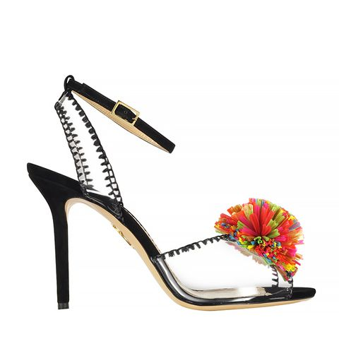 Black Patent Leather Sandal with Raffia Pompom