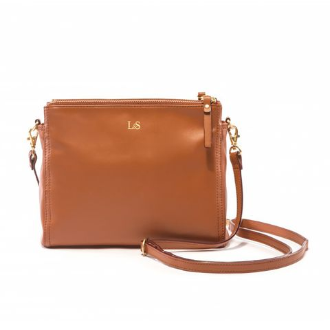 The Pearl Leather Crossbody Bag, Sienna/Gold