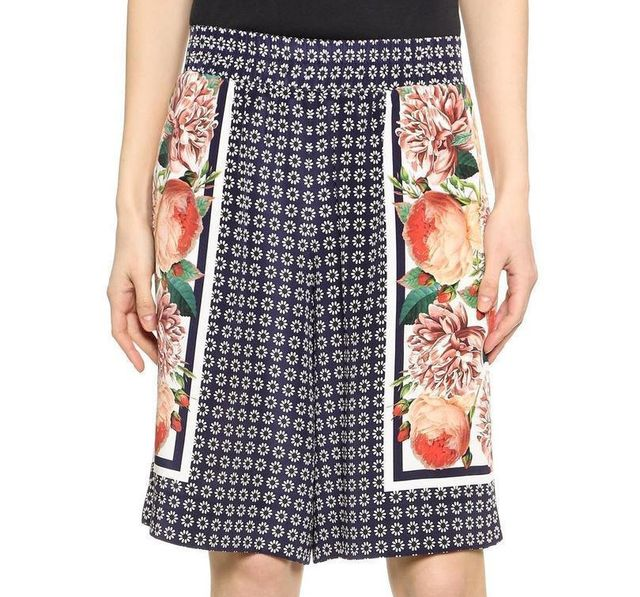 Mother of Pearl Marnie Mixed-Print Silk Culottes