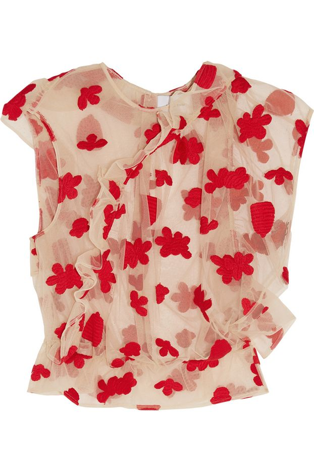 Simone Rocha Floral-Embroidered Tulle Top