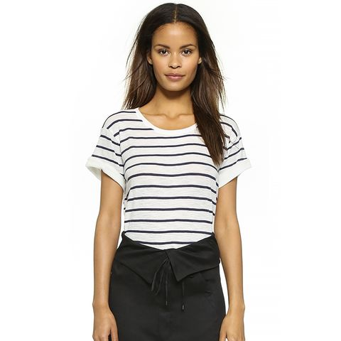 Feeder Stripe Tee, Off White/Coastal