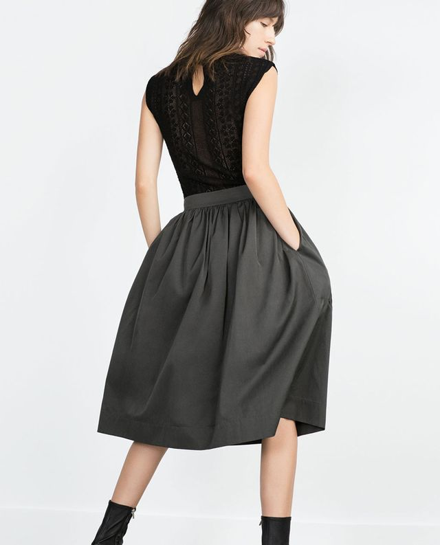 Zara Midi Skirt, Grey