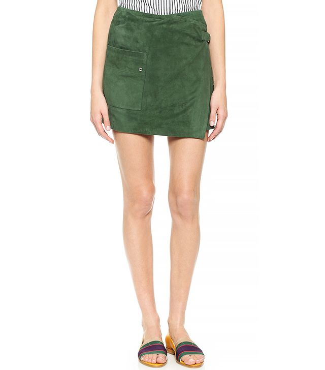 Band of Outsiders Suede Wrap Skirt, Army Green