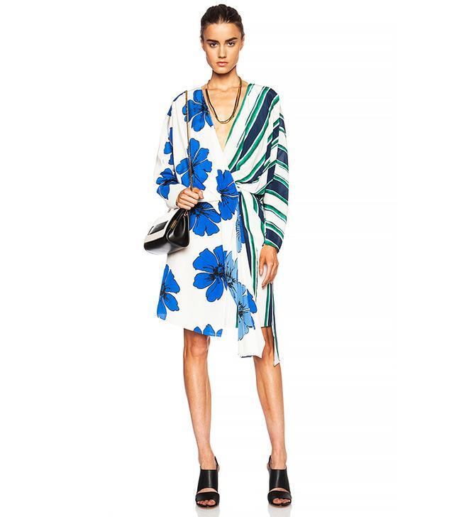 Chloé Striped on Silk Crepe de Chine Wrap Dress