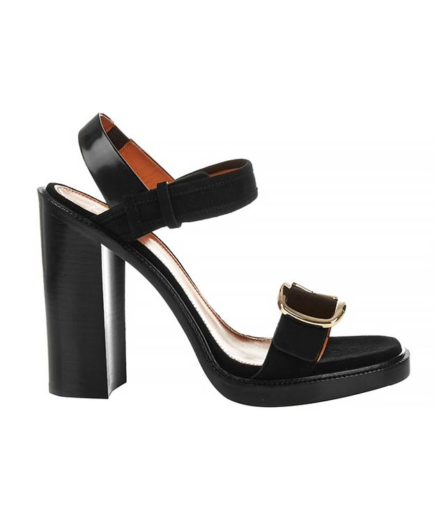 Givenchy Buckle Suede Sandals, Black