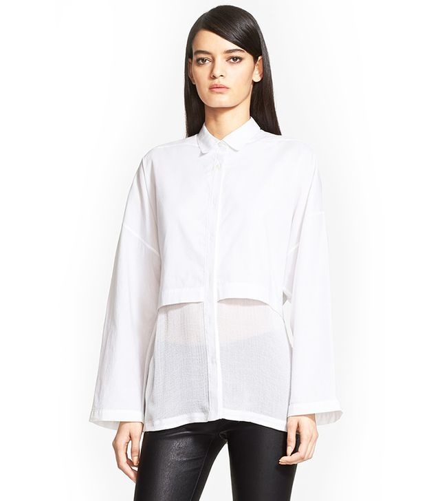 Helmut Lang Layered Cotton Lawn Shirt, White