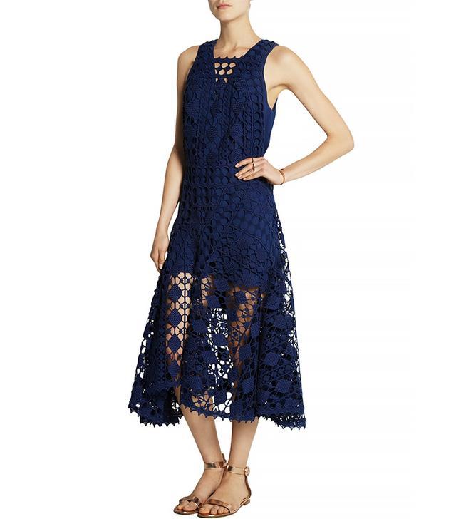 Chloé Chrochet Lace Midi Dress, Navy