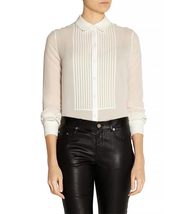 Saint Laurent Silk-Chiffon Shirt, Cream